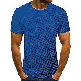Men's Plus Size 3D Graphic T-shirt Basic Daily Weekend Round Neck White / Blue / Purple / Red / Yellow / Green / Short Sleeve