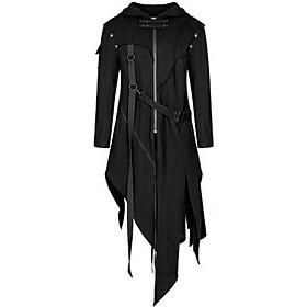 Men's Hooded Trench Coat Long Solid Colored Party Punk  Gothic Long Sleeve Black US32 / UK32 / EU40 US34 / UK34 / EU42 US38 / UK38 / EU46