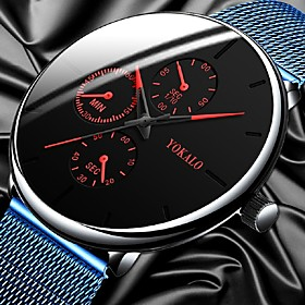 Men's Dress Watch Quartz Stylish Casual Fake Three Eyes Six Needles Analog BlackGloden RedBlue Blue / One Year / Titanium Alloy