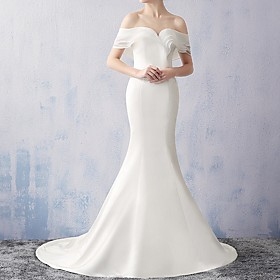 Mermaid / Trumpet Wedding Dresses Off Shoulder Sweep / Brush Train Chiffon Short Sleeve Beach with Ruched 2020
