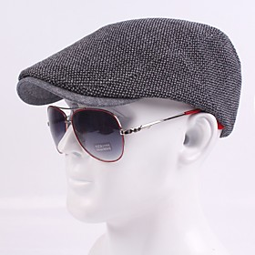 Men's Basic Cotton Polyester Beret Hat-Striped Fall Black Navy Blue