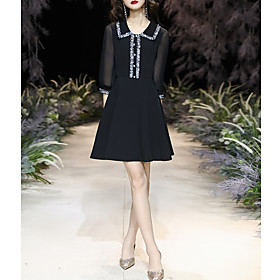 A-Line Hot Black Homecoming Cocktail Party Dress V Neck 3/4 Length Sleeve Short / Mini Chiffon with Buttons 2020