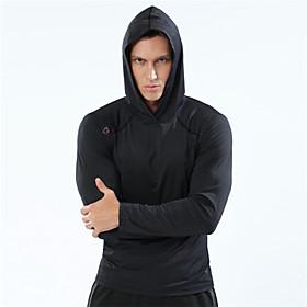 Men's Hoodie Sweatshirt Running Shirt Long Sleeve Breathable Quick Dry Soft Running Walking Jogging Sportswear Top Hoodie Black Royal Blue Activewear Stretchy
