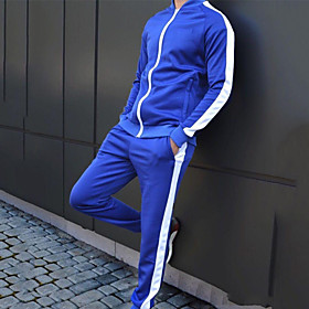 Men's 2-Piece Side-Stripe Tracksuit Sweatsuit Streetwear 2pcs Winter Stand Running Fitness Jogging Breathable Quick Dry Soft Sportswear Athletic Clothing Set L