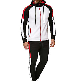 Men's Tracksuit Winter Zipper Color Block Dark Grey Red / black Red black Cotton Yoga Fitness Gym Workout Clothing Suit Long Sleeve Sport Activewear Thermal /