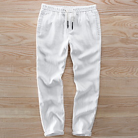 Men's Basic Linen Chinos Pants Solid Colored White Khaki Navy Blue US34 / UK34 / EU42 US36 / UK36 / EU44 US38 / UK38 / EU46
