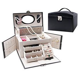 Jewelry Box - Leather Chocolate, Black, Red 26 cm 18 cm 18 cm / Women's
