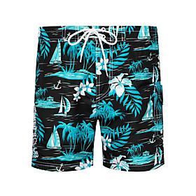 Beach Board Shorts Men's Basic Light Blue Yellow Blue Swim Trunk Bottoms Swimwear Swimsuit - Floral Print S M L Light Blue