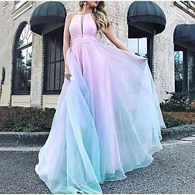 Women's Maxi Swing Dress - Sleeveless Color Block Halter Neck Light Blue S M L XL