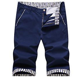 Men's Basic Shorts Bermuda shorts Pants Solid Colored Blue Khaki Royal Blue US32 / UK32 / EU40 US34 / UK34 / EU42 US36 / UK36 / EU44