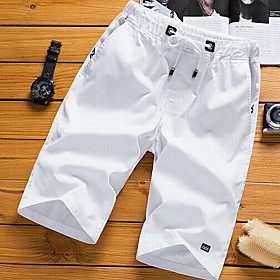 Men's Basic Plus Size Cotton Shorts Pants Solid Colored White Black Orange US36 / UK36 / EU44 US38 / UK38 / EU46 US40 / UK40 / EU48
