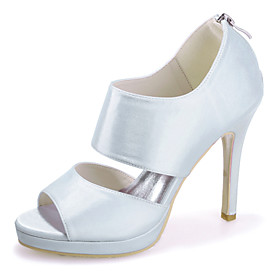 Women's Wedding Shoes Stiletto Heel Open Toe Satin Minimalism Spring  Summer Black / White / Purple / Party  Evening