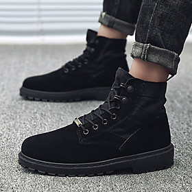 Men's Boots Comfort Shoes Work Boots Classic Daily Outdoor Walking Shoes Suede Breathable Wear Proof Light Yellow / Black Fall  Winter