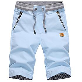 Men's Basic Shorts Bermuda shorts Pants Solid Colored Yellow Khaki Navy Blue US32 / UK32 / EU40 US34 / UK34 / EU42