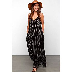 Women's Maxi Loose Dress - Sleeveless Polka Dot Strap Loose Black S M L XL