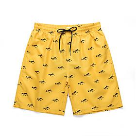 Men's Sporty Basic Loose Shorts Pants - Patterned 3D Print Animal Print High Waist Yellow US36 / UK36 / EU44 / US38 / UK38 / EU46 / US40 / UK40 / EU48 / Elasti