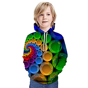 Kids Boys' Active Streetwear 3D Patchwork Print Long Sleeve Hoodie  Sweatshirt Rainbow