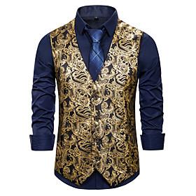 Men's V Neck Vest Geometric Black / Wine / Royal Blue US34 / UK34 / EU42 / US36 / UK36 / EU44 / US40 / UK40 / EU48 / Slim
