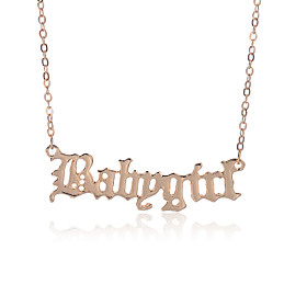 Women's Necklace Letter Trendy Fashion Chrome Rose Gold Gold Silver 42 cm Necklace Jewelry 1pc For Daily School