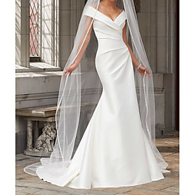 Mermaid / Trumpet Wedding Dresses Off Shoulder Sweep / Brush Train Polyester Cap Sleeve Country Plus Size with Ruched Draping 2020