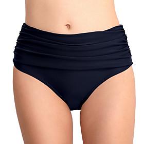 Women's High-Waisted Bikini Bottoms Swimsuit High Waist Solid Colored Swimwear Bathing Suits Black Purple Royal Blue Navy Blue