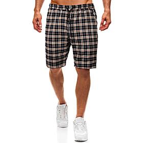 Men's Basic Slim Shorts Pants Plaid Checkered Classic Drawstring Navy Blue US34 / UK34 / EU42 US36 / UK36 / EU44 US38 / UK38 / EU46