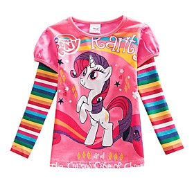Kids Girls' Basic Boho Horse Striped Color Block Rainbow Print Long Sleeve Tee Blushing Pink