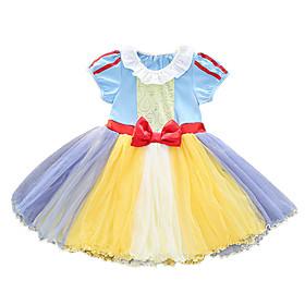 Kids Girls' Active Cute Patchwork Cartoon Bow Mesh Short Sleeve Sleeveless Knee-length Dress Purple