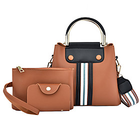 Women's Zipper PU Bag Set Striped 3 Pcs Purse Set Black / Brown / Blushing Pink
