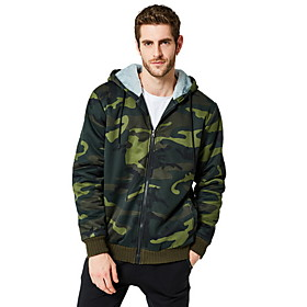 Men's Hoodie Zip Up Hoodie Camo / Camouflage Hooded Basic Hoodies Sweatshirts  Loose Army Green Khaki