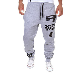 Men's Sporty Slim Sweatpants Pants - Patterned Low Waist Cotton White Black Gray US40 / UK40 / EU48 / US42 / UK42 / EU50 / US44 / UK44 / EU52
