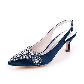 Women's Wedding Shoes Stiletto Heel Pointed Toe Sweet Wedding Party  Evening Rhinestone Solid Colored Satin White / Purple / Dark Purple