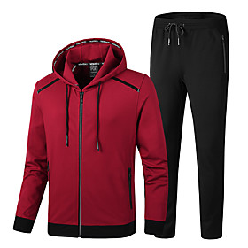 Men's 2-Piece Full Zip Cotton Tracksuit Sweatsuit Jogging Suit 2pcs Winter Hooded Running Fitness Jogging Thermal / Warm Breathable Soft Sportswear Athletic Cl