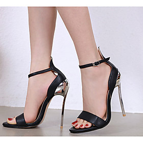 Women's Heels Stiletto Heel Pointed Toe PU Spring  Summer Black / White