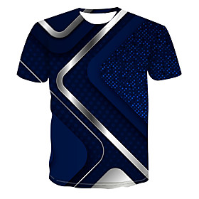Men's 3D Abstract Print T-shirt Street chic Punk  Gothic Club Weekend Round Neck Royal Blue / Short Sleeve