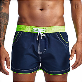 Men's Basic Bottoms Swimsuit Print Color Block Swimwear Bathing Suits Blue Blushing Pink Green Royal Blue