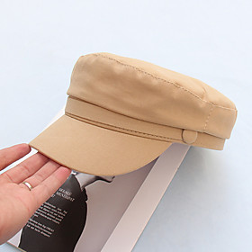Men's Women's Active Basic Cute Cotton Beret Hat Sun Hat-Solid Colored All Seasons Black Yellow Green