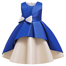 Kids Girls' Active Sweet Patchwork Bow Patchwork Sleeveless Knee-length Dress Wine