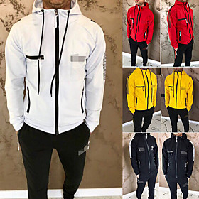 Men's 2-Piece Side-Stripe Tracksuit Sweatsuit Jogging Suit Casual Long Sleeve Breathable Quick Dry Soft Fitness Running Jogging Sportswear Skinny Stripes Outfi