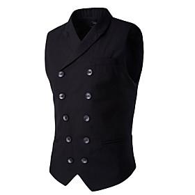 Men's V Neck Vest Solid Colored Black / Blue / Gray US32 / UK32 / EU40 / US34 / UK34 / EU42 / US36 / UK36 / EU44 / Slim