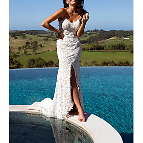 Sheath / Column Wedding Dresses V Neck Floor Length Lace Polyester Sleeveless Casual Beach Plus Size with Appliques Split Front 2020
