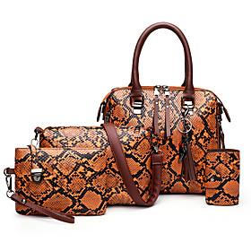 Women's Zipper PU Bag Set Color Block 3 Pcs Purse Set Black / Brown / Blue / Snakeskin