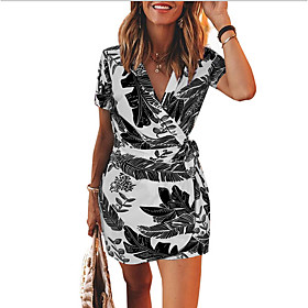 Women's Sheath Dress - Short Sleeves Print V Neck Black Blue S M L XL