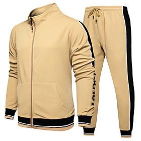 Men's Activewear Set Color Block Basic Hoodies Sweatshirts  Black Khaki