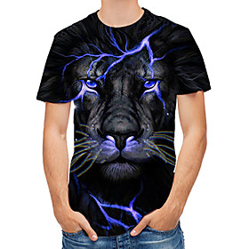 Men's 3D Graphic Print T-shirt Round Neck Black / Animal
