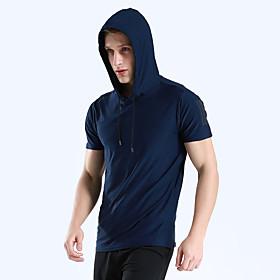 Men's Hoodie Sweatshirt Running Shirt Short Sleeve Breathable Quick Dry Soft Running Walking Jogging Sportswear Solid Colored Tee Tshirt Top Hoodie Green Royal