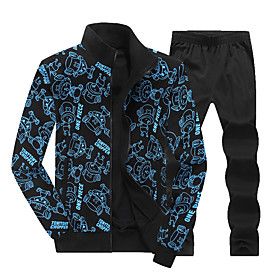 Men's 2-Piece Full Zip Cotton Tracksuit Sweatsuit Jogging Suit 2pcs Winter Mandarin Collar Running Fitness Jogging Thermal / Warm Breathable Soft Sportswear At