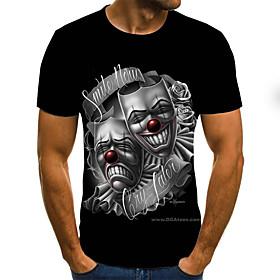 Men's 3D Graphic Slim T-shirt Basic Daily Round Neck Black / Short Sleeve