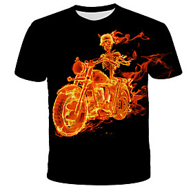 Men's 3D Graphic Print T-shirt Street chic Exaggerated Daily Holiday Round Neck Black / Short Sleeve
