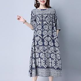 Women's Loose Dress - Half Sleeve Print Blue M L XL XXL